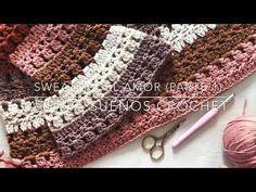 Sweater del Amor (parte 1) - YouTube Love Crochet, Knit Crochet, Crochet Stitches, Crochet Patterns, Crochet World, Sweater Knitting Patterns, Crochet Videos, Crochet Cardigan, Crochet Clothes