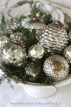 Mercury glass ornaments on display