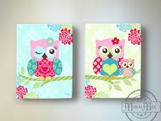 Owl Nursery Decor - OWL canvas art, So simple find a great print and staple to a canvas and gloss!