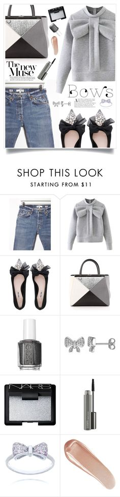 """""""i put some silvery bows on ."""" by heyra ❤ liked on Polyvore featuring RE/DONE, WithChic, Miu Miu, Fendi, Essie, Laura Ashley, NARS Cosmetics, MAC Cosmetics and bows"""