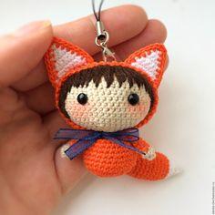 Купить Лисичка вязаная - куколка амигуруми - рыжий, лисичка вязаная, рыжая лиса, девочка куколка