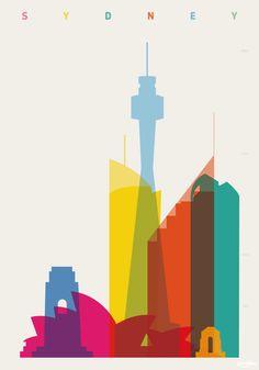 """Arte y Arquitectura: Coloridos Carteles muestran la """"Silueta de Cada Ciudad"""",Sidney © Yoni Alter"""