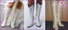 Bruiloft laarzen voor de bruid op de hoge en lage hakken, populaire model met foto's