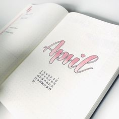 Bullet journal monthly cover page, April cover page, hand lettering. | @fraeulein.katharina