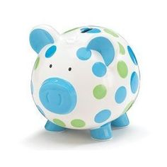 """Blue And Green Polka Dot Piggy Bank Adorable Baby/Toddler Gift by Burton & Burton. $21.99. Measures:7""""H x 6""""W x 7.75""""D. Gift boxed. Hand painted ceramic piggy bank. Includes:Dry erase pen for personalizing.. Adorable large piggy bank"""