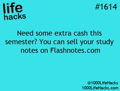 "Your Study Notes: ""Need some extra cash this semester? You can sell your study notes on "" – life hacks via 1000 Life Hacks college student tips College Life Hacks, Life Hacks For School, College Tips, School Tips, College Checklist, Simple Life Hacks, Useful Life Hacks, Saving Tips, Saving Money"