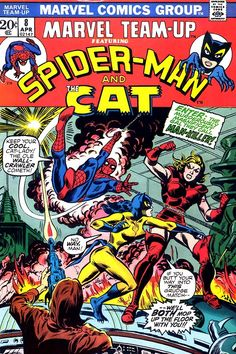 Marvel's Catwoman rip-off. Team-Up #8, april 1973, cover by Jim Mooney.