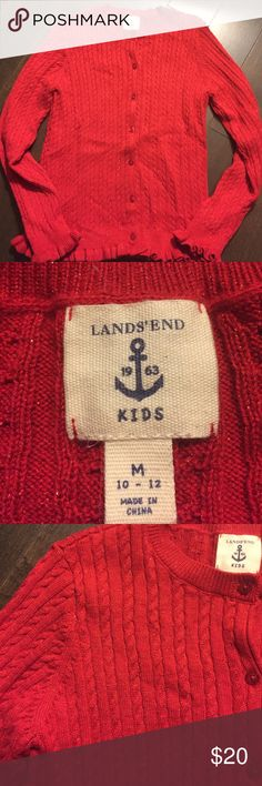 🎄Lands End .... Red Cardigan with shimmer🌟 🌟Red Cardigan with Shimmer. Ruffled sleeves and around bottom🎄 Lands' End Shirts & Tops Sweaters