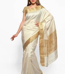 Buy Cream and beige zari tussar silk saree with blouse tussar-silk-saree online