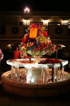 Christmas party seafood bar on ice.  Floral gifts by Kebbie Hollingsworth Floral Design