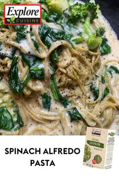 Alfredo is always a great dinner go to! Try this recipe from @maggie_alyse on IG. It features a lot of protein and vitamins to help you replenish after a long day of work! Edamame Spaghetti, Spinach Alfredo, Plant Based Recipes, Diy Food, Vitamins, Protein, Pasta, Meals, Chicken