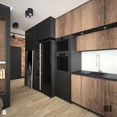 Motyw cegły we wnętrzu - Duża otwarta kuchnia w kształcie litery u, styl nowoczesny - zdjęcie od OES architekci - homebook