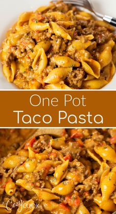This Taco Pasta Recipe is a 30 minute meal that you can make in ONE Pot! Cheesy pasta shells are tossed with seasoned ground beef in a creamy taco sauce. This easy dinner idea is a kid friendly meal that's also budget friendly. Ground Beef Pasta, Dinner With Ground Beef, Pasta With Beef, Easy Ground Beef Meals, Pasta Recipes With Ground Beef, Dinner Ideas With Beef, Ground Beef Tacos, Casserole Recipes, Beef Noodle Casserole
