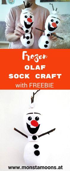 Olaf basteln, Sockentiere, Frozen, frozen crafts, Eiskönigin basteln, Monstamoons, Schneeman basteln, Olaf nähen, sock animals