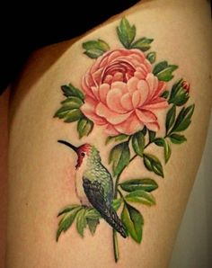 Flower And Birds Tattoo For Girl