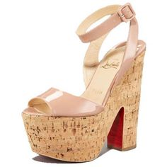 Louboutin Super Dombasle 160mm Patent Wedges Nude #redbottomshoes