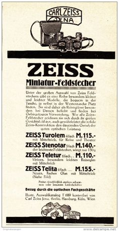 Original-Werbung/ Anzeige 1925 - ZEISS MINIATUR FELDSTECHER / CARL ZEISS JENA…