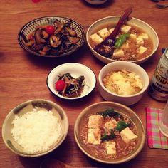 今日の晩御飯は、和風麻婆豆腐定食。和風麻婆おいしいけどレシピ見ず適当に作るから毎回味付けがちゃう(;;°;ё;°;;) - @koguma3014- #webstagram
