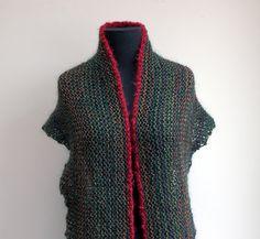Hand Knit Shoulder Shawl Scarf Cowl Wrap, Stylish Comfort Prayer Meditation, Forest Green Rust Multicolor
