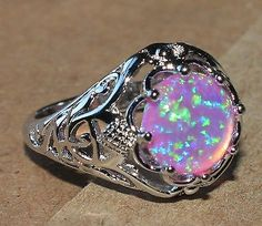 pink fire opal ring Gemstone silver jewelry Sz 8 vintage style chic cocktail L75