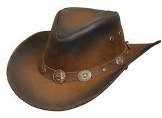 New Leather Cowboy Western Aussie Style Hat Conchos Size Leather Cowboy Hats, Cow Leather, Real Leather, Smooth Leather, Cowboy Boots, Chapeau Cowboy, Stylish Hats, Black Smoke, Western Cowboy