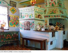 Painted clay oven in painted house in Zalipie, Poland [Z36-480212 ...