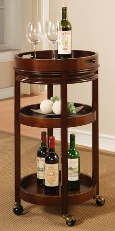 This Should always be by my bedside table. -Removable tray top and wheels for easy rolling Wine Cart, Contemporary Furniture Stores, Home Gifts, Bedside, Man Cave, Woodworking Projects, Interior Decorating, Wheels, Tray