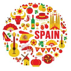 Collection of spain icons vector illustration , Spanish Classroom, Teaching Spanish, Spanish Culture, World Languages, Most Beautiful Beaches, Spanish Lessons, Beach Resorts, Branding Design, Clip Art