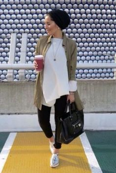 casual blouse with olive jacket- Cute hijab for teens http://www.justtrendygirls.com/cute-hijab-for-teens/