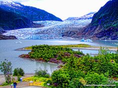 Mendenhall Glacier, Juneau, Alaska. There is an amazing trail leading right up to here, and a huge waterfall just out of frame in this picture. Absolutely stunning.