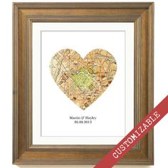 Personalized Map Print Custom Wedding Gift Heart by Paperbility Heart Map, Custom Wedding Gifts, Custom Map, Map Art, House Warming, Unique Gifts, Etsy, Handmade, Engagements