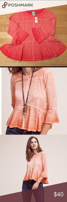 🌺Spring Sale🌺Anthropologie Tee Seamed Peplum Tee - tangerine - super soft Anthropologie Tops Tees - Long Sleeve
