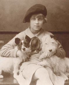 vintage photo of girl with dogs