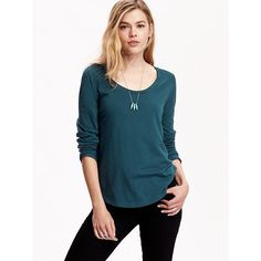 Old Navy Womens Relaxed Scoop Neck Tee ($9) ❤ liked on Polyvore featuring tops, t-shirts, kelp forest, petite, jersey t shirts, blue long sleeve t shirt, petite long sleeve t-shirts, blue tee and scoop neck tee