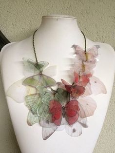 Handmade Silk Organza Fabric Butterflies and Wings Great Boho