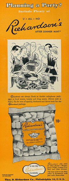 Richardson's After Dinner Mints ad, 1950. #vintage #1950s #candy #mints #ads