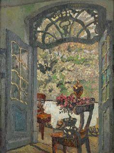 """August von Brandis (German, 1862-1947) - """"The view on the garden"""" - Oil on canvas"""