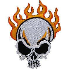 Biker Iron On Patch Badge / Sew On Jeans Jacket Embroidered Flaming Fire Skull