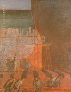 BBC - Your Paintings - At Work on a Battleship at Rosyth: Testing Cables at Night by the Light of a Flare Lamp