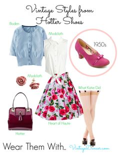 The Antoinette shoes in bright girly pink looks fabulous with feminine 1950s styles. Get this look at VintageDancer.com