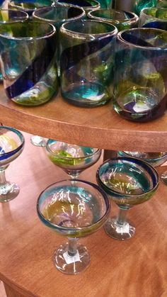 Wedding color scheme - blues and greens can use these for bridal partys glasses  or vases for flowers