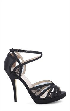 <3 Open Toe Platform High Heel with Lace Trim