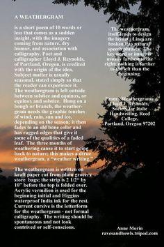 From:  Weathergrams, Lloyd J. Reynolds, Society for Italic Handwriting, Reed College, Portland, Oregon 97202
