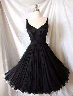 Vintage 50s Black SILK Chiffon Cocktail Party dress. How cute!