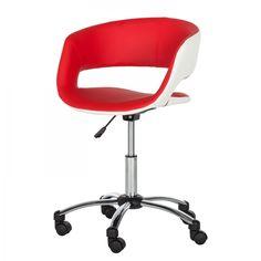 Chaise de bureau pivotante Prace - Imitation cuir - Rouge / Blanc