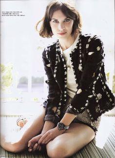 Chanel-style jacket, tee, charm necklace & poplin shorts (Alexa Chung for Vogue Korea)