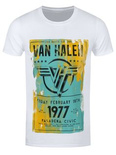 Channel an 'Atomic Punk' look with this epic t-shirt from Van Halen. Commemorating the band's legendary album, Pasadena 1977, this tee is guaranteed to add some hard rock to your wardrobe! Only for those who can handle the volume. Official merch.