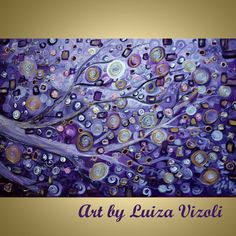 PURPLE RAIN Silver Gold Violet Tree Landscape by LUIZAVIZOLI, $279.00