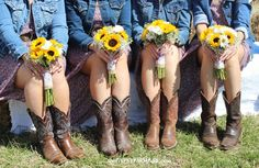 bridemaids dresses with boots and jean jackets | The bridesmaids wore boots with dresses and denim jackets and carried ...