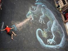 Dragon slayer - A beautiful piece of chalk art, made even cooler by the little human intervention. Photo Illusion, Chalk Photography, Photography Ideas, Animation Photo, Chalk Photos, Street Art, Photos Originales, Sidewalk Chalk Art, Chalk Drawings